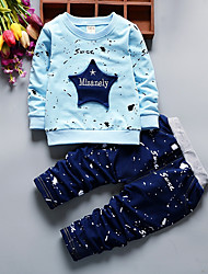 cheap -Toddler Boys' Casual Active Geometric Long Sleeve Regular Cotton Clothing Set Blue