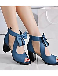 cheap -Women's Sandals Bowknot Nubuck leather Basic Pump Spring / Fall Black / Blue / EU39