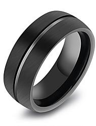 cheap -Men's Band Ring Groove Rings Black Titanium Steel Tungsten Steel Titanium Geometric Korean Fashion Initial Daily Formal Jewelry Geometrical