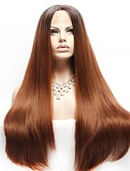 abordables -Perruque Lace Front Synthétique Droit Droite Avec Mèches Avant Lace Frontale Perruque Long Noir / Brun Cheveux Synthétiques Femme Cheveux Colorés Marron EEWigs