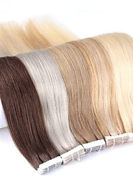 cheap -Neitsi Tape In Human Hair Extensions Straight Human Hair Skin Weft Hair Extension 24 inch Blonde Ombre 20pcs Multi Color Women's Beige Blonde /  / Bleached Blonde / 8A