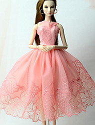 cheap -Doll accessories Doll Clothes Doll Dress Wedding Dress Party / Evening Dresses Wedding Ball Gown Embroidery Lace Tulle Lace Organza For 11.5 Inch Doll Handmade Toy for Girl's Birthday Gifts  Doll Not