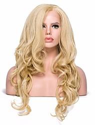 Недорогие -Синтетические кружевные передние парики Волнистый Волнистый С пушком Лента спереди Парик Блондинка Средние Светло-золотой Искусственные волосы Жен. Блондинка EEWigs