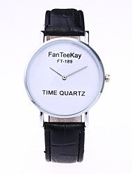 cheap -Men's Women's Fashion Watch Wrist Watch Quartz Quilted PU Leather Black / White / Brown Hot Sale Analog Casual Minimalist - White Black Coffee One Year Battery Life