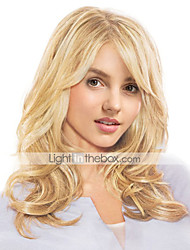 cheap -Human Hair Blend Wig Long Wavy Wavy Side Part Machine Made Women's Natural Black #1B Honey Blonde#24 Medium Auburn#30 22 inch