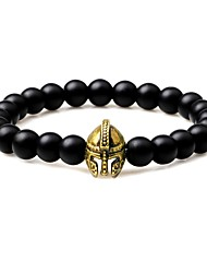 cheap -Men's Obsidian Bead Bracelet Vintage Gothic Agate Bracelet Jewelry Gold / Silver / Yellow For Gift Going out