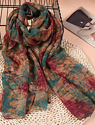 cheap -Women's Cotton / Linen Rectangle Scarf - Abstract Print