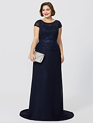 cheap -A-Line Jewel Neck Floor Length / Sweep / Brush Train Chiffon / Sequined / Glitter Lace Short Sleeve Classic & Timeless / Elegant & Luxurious / Sparkle & Shine Mother of the Bride Dress with Sequin