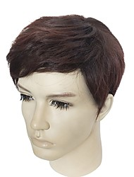 cheap -Synthetic Wig kinky Straight kinky straight Wig Short Brown Synthetic Hair Men's Brown