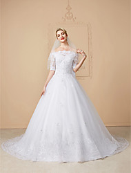 cheap -Ball Gown Wedding Dresses Off Shoulder Court Train Lace Tulle Half Sleeve Sparkle & Shine Open Back Cute with Bow(s) Beading Appliques 2020 / Illusion Sleeve