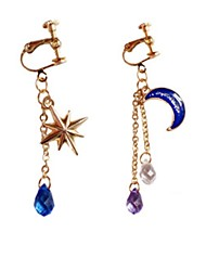cheap -Women's Crystal Clip on Earring Mismatched Moon Star North Star Ladies Classic Fashion Crystal Earrings Jewelry Gold For Daily