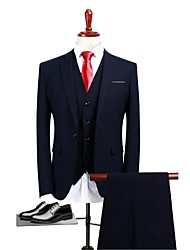 cheap -Navy Blue Solid Colored Standard Fit Polyester Suit - Peak / Turndown Single Breasted One-button / Suits