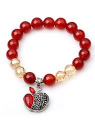 cheap -Women's Onyx Bead Bracelet Apple Fashion Elegant Agate Bracelet Jewelry Red For School Street