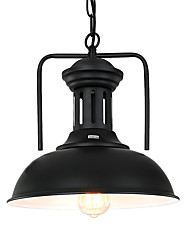 cheap -1-Light Northern Europe Vintage Industry Black Metal Shade Pendant Lights Dining Room Living Room Kitchen Light Fixture 1 Lights