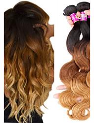 abordables -Lot de 3 Tissage de cheveux Cheveux Brésiliens Ondulation naturelle Extensions de cheveux Naturel humains Cheveux Naturel Rémy Paquets de 100% Remy Hair Weave 300 g A Ombre 12-22 pouce Couleur / 10A