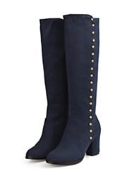 cheap -Women's Boots Knee High Boots Pointed Toe Rivet Suede Knee High Boots Comfort / Novelty Fall / Winter Black / Burgundy / Blue / EU42
