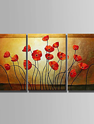 cheap -Oil Painting Hand Painted - Abstract Abstract Canvas / Three Panels / Stretched Canvas
