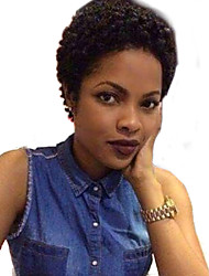 cheap -Human Hair Capless Wigs Human Hair Kinky Curly / Jerry Curl Short Hairstyles 2019 Halle Berry Hairstyles African American Wig Short Machine Made Wig Women's