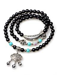 cheap -Women's Onyx Obsidian Bead Bracelet Wrap Bracelet Animal Ethnic Agate Bracelet Jewelry Black For Gift New Year
