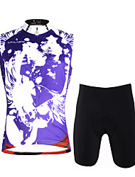 cheap -ILPALADINO Men's Sleeveless Cycling Jersey with Shorts Violet Skull Bike Vest / Gilet Padded Shorts / Chamois Clothing Suit 3D Pad Quick Dry Sports Lycra Fashion Road Bike Cycling Clothing Apparel