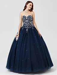 cheap -Ball Gown Sweetheart Neckline Floor Length Satin / Tulle Cocktail Party / Formal Evening / Holiday Dress 2020 with Beading / Sequin / Pleats