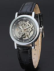 Недорогие -WINNER Жен. Часы со скелетом Наручные часы С автоподзаводом Кожа Черный 30 m С гравировкой Аналоговый Дамы Винтаж На каждый день Мода Элегантный стиль -  / Нержавеющая сталь
