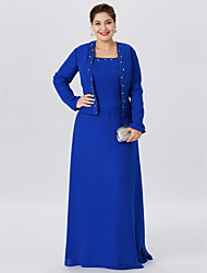 cheap -A-Line Straps Floor Length Chiffon / Lace Long Sleeve Classic & Timeless / Elegant & Luxurious / Plus Size Mother of the Bride Dress with Pearls / Crystals 2020 / Wrap Included