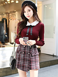 cheap -Women's Going out Vintage Pullover - Solid Colored / Vintage, Knitting / Patchwork Shirt Collar