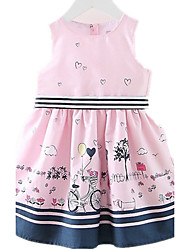 cheap -Kids Toddler Girls' Cartoon Daily Holiday Going out Print Sleeveless Dress Blushing Pink