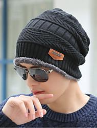 Недорогие -Муж. Для офиса Широкополая шляпа-Спортивные Трикотаж Вязанная,Однотонный Зима Черный