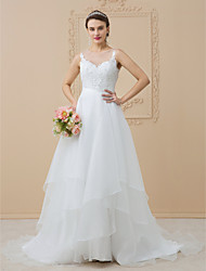 cheap -A-Line Bateau Neck Sweep / Brush Train Chiffon / Beaded Lace Regular Straps See-Through / Beautiful Back Made-To-Measure Wedding Dresses with Appliques 2020