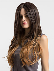 cheap -Synthetic Wig Wavy kinky Straight kinky straight Wig Long Dark Brown / Medium Auburn Synthetic Hair Women's Middle Part Brown MAYSU