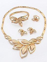 cheap -Women's Bracelet Bangles Pendant Necklace Leaf Statement Ladies Classic Sweet Fashion Oversized Imitation Diamond Earrings Jewelry Gold For Party Gift