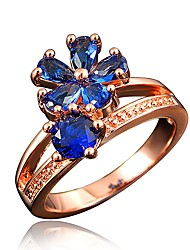 cheap -Women's Band Ring Cubic Zirconia High End Crystal One-piece Suit White Red Royal Blue Zircon Rose Gold Plated Circle Classic European Fashion Wedding Party Jewelry Snowflake Daisy