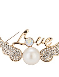 cheap -Women's Brooches Wings Simple Elegant Imitation Pearl Brooch Jewelry Gold For Gift Going out