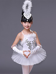 cheap -Ballet Outfits Performance Spandex Feathers / Fur / Paillette Sleeveless High Dress / Sleeves / Headwear