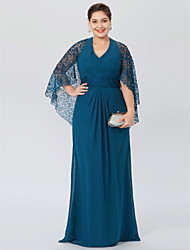 cheap -Sheath / Column Halter Neck Floor Length Chiffon / Corded Lace Half Sleeve Classic & Timeless / Elegant & Luxurious / Open Back Mother of the Bride Dress with Beading / Pleats 2020 / Butterfly Sleeve