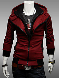 cheap -Men's Hoodie Solid Colored Hooded Active Long Sleeve Slim Wine Black Dark Gray M L XL XXL XXXL XXXXL