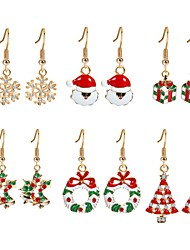 cheap -Women's Cubic Zirconia Drop Earrings Christmas Tree Ladies Zircon Gold Plated Earrings Jewelry Rainbow For Christmas New Year Six-piece Suit