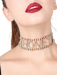 cheap -Women's Hot Fix Choker Necklace Geometrical Statement Alloy Gold Silver Necklace Jewelry For Party Gift