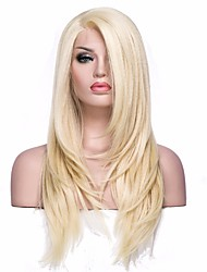 cheap -Synthetic Lace Front Wig Straight Straight L Part Wig Blonde Medium Length Light golden Synthetic Hair Women's Blonde EEWigs