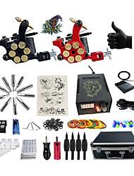 abordables -BaseKey Kit de tatouage professionnel Machine à tatouer - 2 pcs Machines de tatouage, Professionnel Alliage 16 W Source d'alimentation LED 2 Machine à tatouage x alliage pour la doublure et l'ombrage