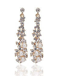 cheap -Women's Drop Earrings Classic Fashion Imitation Pearl Imitation Diamond Earrings Jewelry Gold For Ceremony Engagement