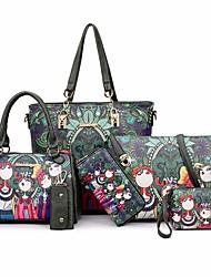cheap -Women's Bags PU Leather Bag Set 6 Pieces Purse Set Zipper Print Patterned Floral Print Casual Bag Sets Handbags Dark Green