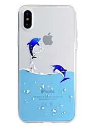 cheap -Case For Apple iPhone X / iPhone 8 Plus / iPhone 8 Pattern Back Cover Playing with Apple Logo / Cartoon Soft TPU