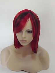 cheap -Synthetic Wig Straight kinky Straight kinky straight Asymmetrical With Bangs Wig Short Medium Length Black / Red Synthetic Hair Women's Highlighted / Balayage Hair Natural Hairline Red