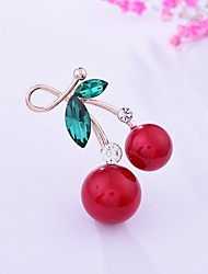 cheap -Women's Brooches Cherry Ladies Basic Sweet Rhinestone Brooch Jewelry Gold For Gift Going out