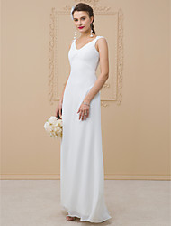 cheap -Sheath / Column V Neck Floor Length Chiffon / Charmeuse Cap Sleeve Open Back Made-To-Measure Wedding Dresses with Pleats 2020