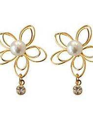 cheap -Women's Stud Earrings Flower Classic Fashion Imitation Pearl Imitation Diamond Earrings Jewelry Gold For Daily