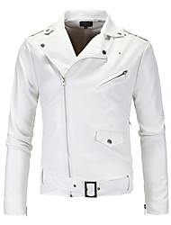 cheap -Men's V Neck Faux Leather Jacket Short Solid Colored Daily Weekend Streetwear Punk & Gothic Fall Winter Long Sleeve White M / L / XL / Slim